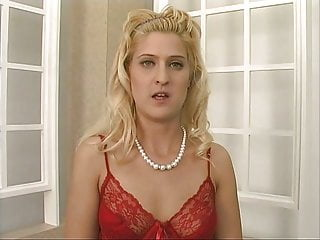 Sexy lingere for mature women - Sexy blond babe in red linger does sexy striptease
