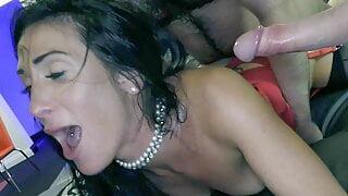 Lusty sluts Ella Bella and Sexy Cleo get gangbang fucked