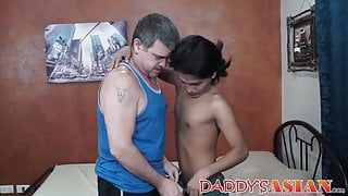 Asian Russel and Daddy bareback hard after oral sex