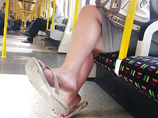 Latex free flip flops Candid nice feet in flip flops on tube faceshot