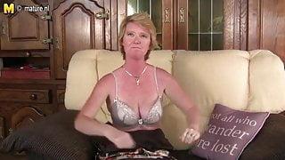 Naughty British mature stepmom playing with her wet pussy