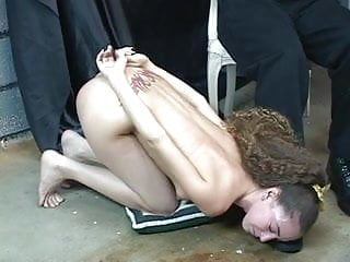 Big titted shaved sluts - Young tattoed bdsm slut with shaved cunt turned into footstool and blindfolded