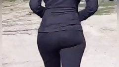 Visual distancing his wife's soft booty