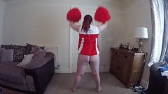 Mom Dancing in Cheerleader outfit