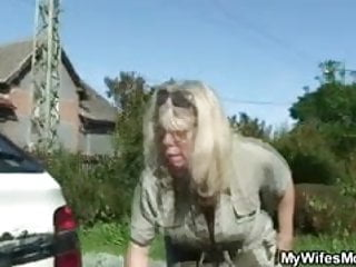 Mature wife screw He screws his old mother in law outdoor