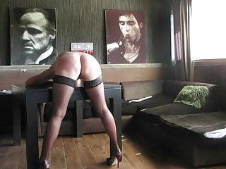 Slut on sportbike - Sub slut on table is getting a rough belt spanking