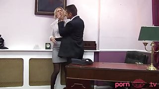Fully clothed secretary rides and sucks cock