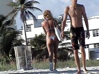 South beach gay scene Blonde in blue thong at south beach