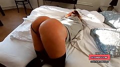 amateur wife back from training - morning sex