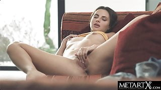 Horny beauty fingerbangs her soaked pussy to a wild orgasm