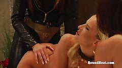 Lesbian Threesome With Big Strapon And Young Slaves