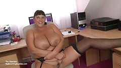 British mature secretary with huge tits