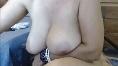 Granny with big tits and great ass rides dildo