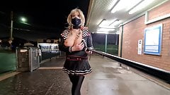 Masked Sissy Flashing at the Train Station