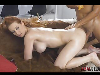Slicing babes fetish - Redhead lubed up for anal sex