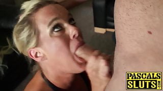 UK sub Roxy Mae rides before squirting beside cuckold