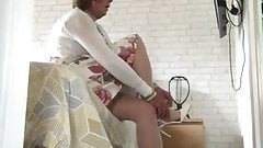Sexy Crossdresser Putting on High Heels