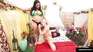 Blonde Cristi Ann Rides Lesbian Angelina Castro's Strapon!