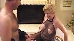 Gilf in bodystocking fucks and sucks