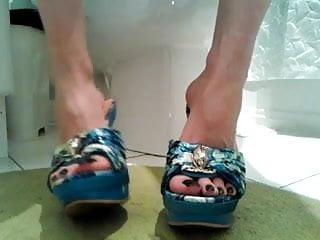 Toenails painted black fetish High heels long black toenails