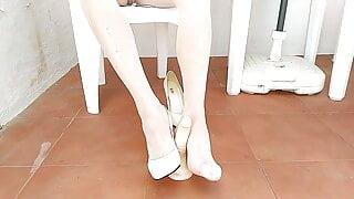 New white heels, dildo footjob