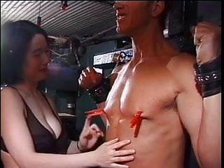 Bondage chicks - Lusty asian chick has her white stud in bondage