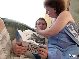 Boy swa her pussy - German bbw granny seduce young boy to fuck her hairy pussy