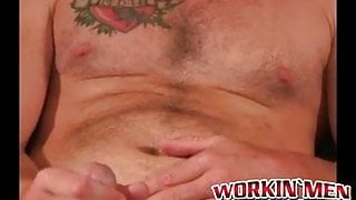 Mature gay dude jerks off and shoots his load on the plate