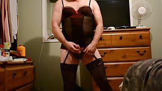 stroking cock in lingerie