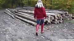 Rain Boots in Woods