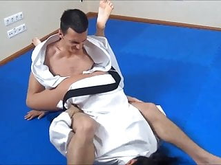 Orgasm sucking Sandra romain wrestles guy and then sucks his cock