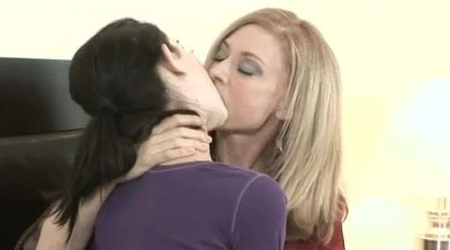 young and old lesbians kissing