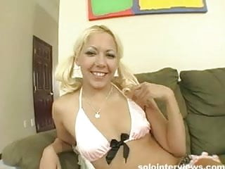Pantyhose lingere Blonde teen in sexiest pink lingere strips off and touches h