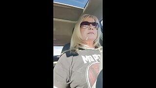 Solo - White Hot Sexy Grandma in her car