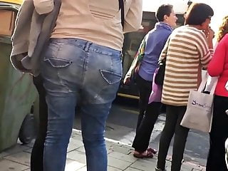 Ass in tight thongs - Tight jeans sexy ass with thong popping out walking