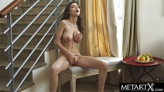 Big tits jiggling wildly as she fingers her sexy pussy