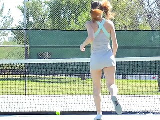 Asian model inserting table tennis ball Preciosa anglosajona tennis racket insertion peeing pissing