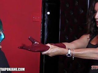 Domination leather gloves - Strapon jane dominates slave with leather gloves ass fucking