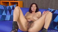 Extremely hairy Vanessa J in zippered heels