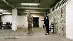 Dominatrix Mistress April - slave exercise in the prisonyard
