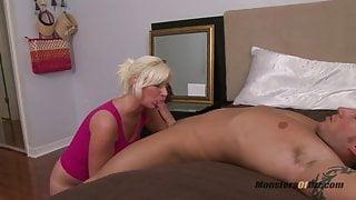 Big Blonde Deepthroats Cock and Eats Cum
