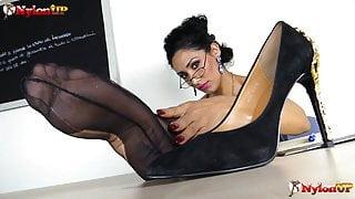 Teacher in stockings strapon JOI