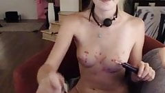 redhead gets off with a ball gag in her mouth