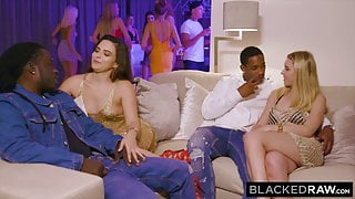 BLACKEDRAW – Two Euro hotties compete for BBC at a party