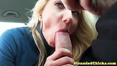 Blonde hitch hiking hottie polishes cock