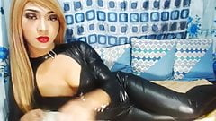 Blonde Asian Shemale Smoking Wearing a Catsuit!