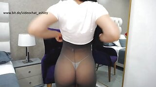 Sensual dance in grey tights and thong
