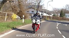 CLUBXFLAT-  biker babe towed after breakdown