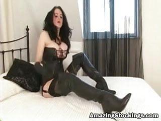 Huge tit masturbate Huge tits slut in stockings and black boots masturbating