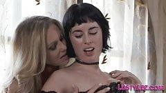 Busty milf lesbian tongues and strokes babe